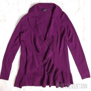Theory Audree Royal Ruffle Open Front Cardigan
